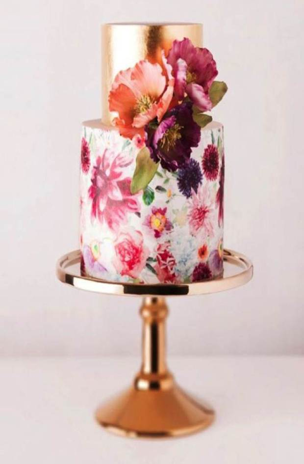 Berry tones and Metal Cake Native and Posh Wedding Blog
