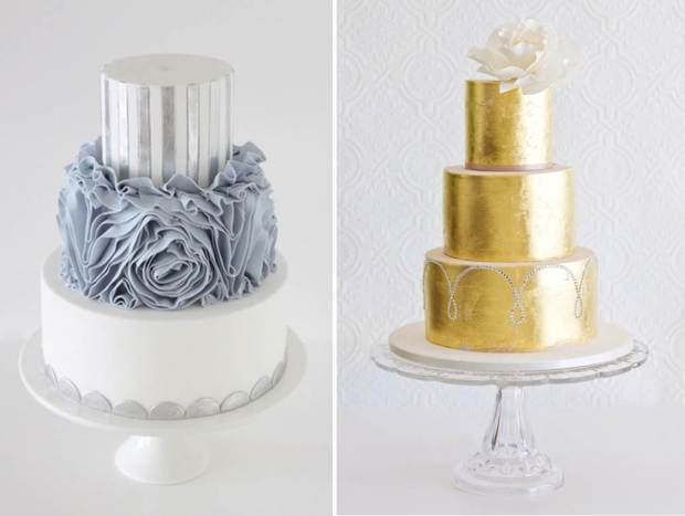 Native and Posh WEddings metallic-wedding-cakes2