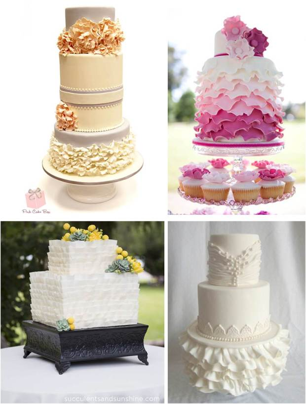 Native and Posh Weddings ruffled wedding cake